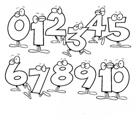 Number Coloring Pages 1 10 Printable Pages NUMBERS Pinterest