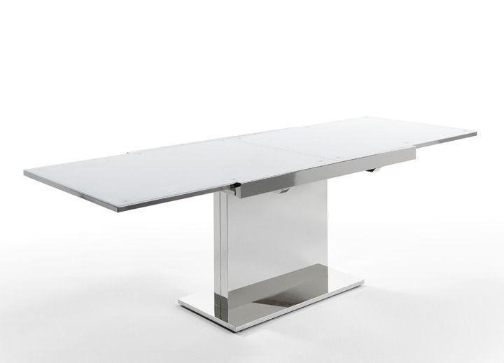 Mesa comedor extensible cristal templado blanco y base en acero ...