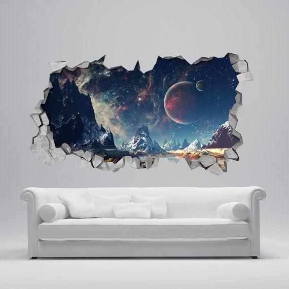 Space Broken Wall Decal - 3d Wallpaper - 3d wall decals - 3d printed ...