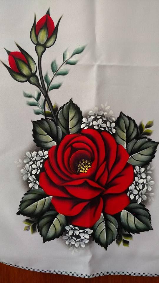A Imagem Pode Conter Planta E Flor Pintura Em Tecido Rosas