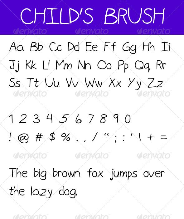 Child's Brush #GraphicRiver Font written by a child  Includes OTF