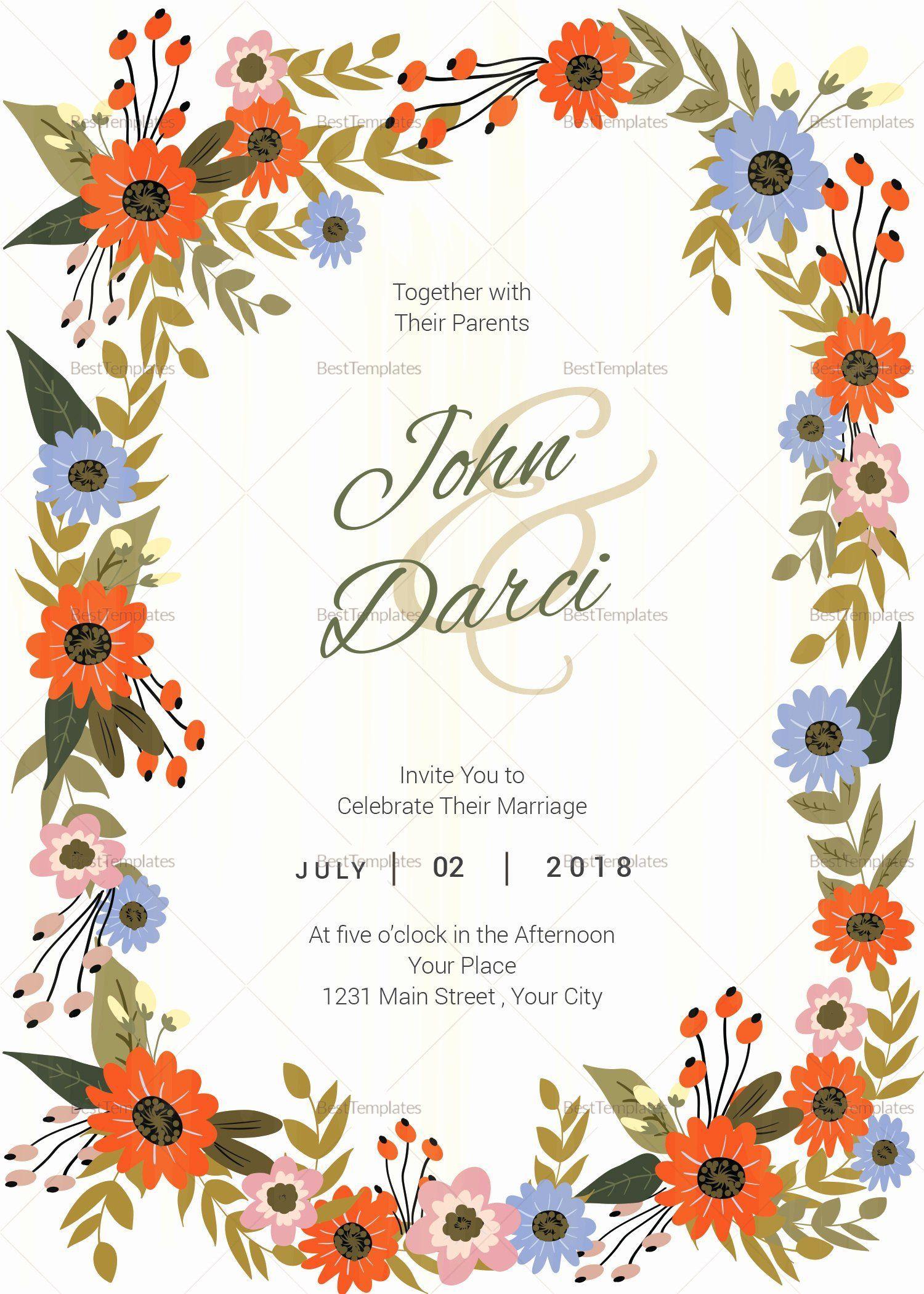 Microsoft Publisher Wedding Invitation Template Lovely Summer Flo