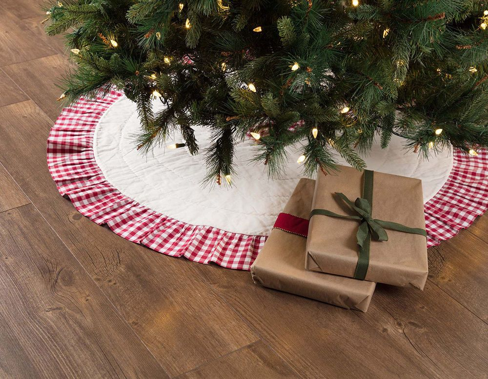 Details about Christmas Tree Skirt 48 inch Red White Check Emmie