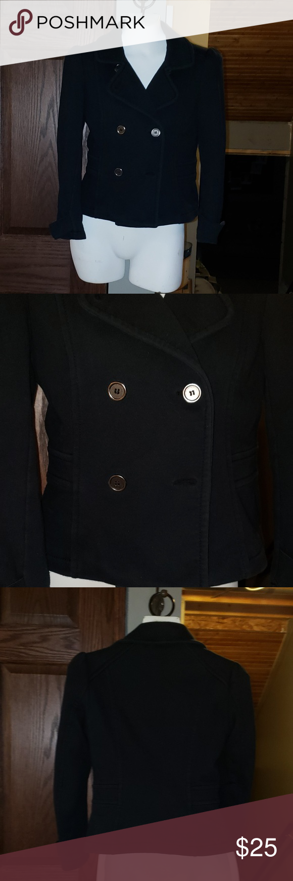Cute Navy Blue H&M Pea Coat EXTRA Buttons Size 10