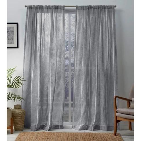 Exclusive Home Santos Embellished Stripe Textured Linen Sheer Rod