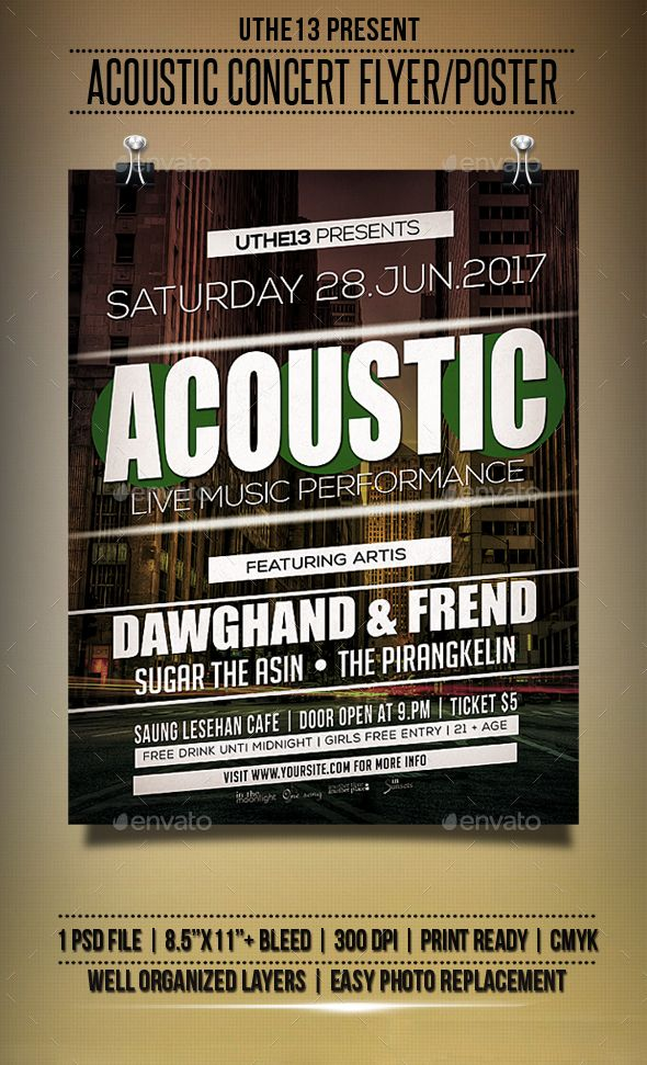 Acoustic Music Flyers  Poster  Music Flyer Acoustic Music And