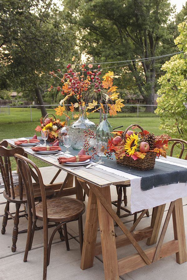 fall decorations for a harvest festival on the patio - Harvest Decorations