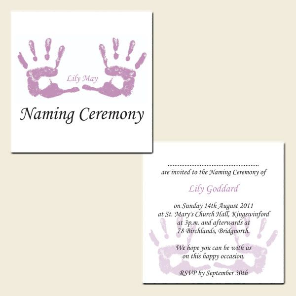 Invitation Ideas  JasonS Naming Ceremony    Naming