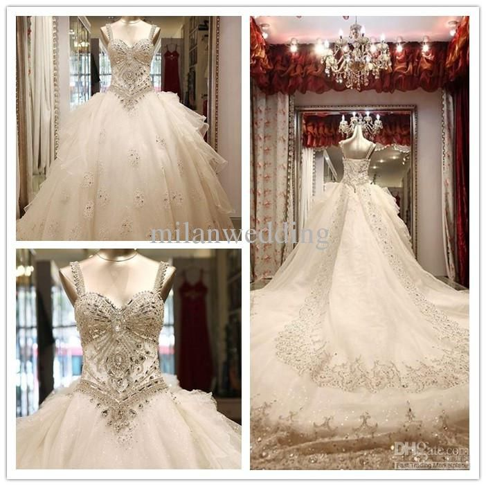luxury wedding dress crystals wedding dress bling dress Tulle Beaded ...