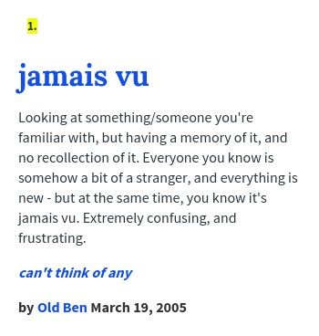 Urban Dictionary Jamais Vu