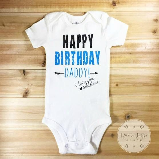 I love you Dad Unique Message on Personalised Baby Bodysuit Personalised Gift For Dad, Happy Birthday Daddy Baby Outfit for Father/'s Day