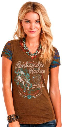 1be1c3c5d1ef4d Panhandle Slim Women's Brown Ombre Aztec Print Back Tee - Country Outfitter