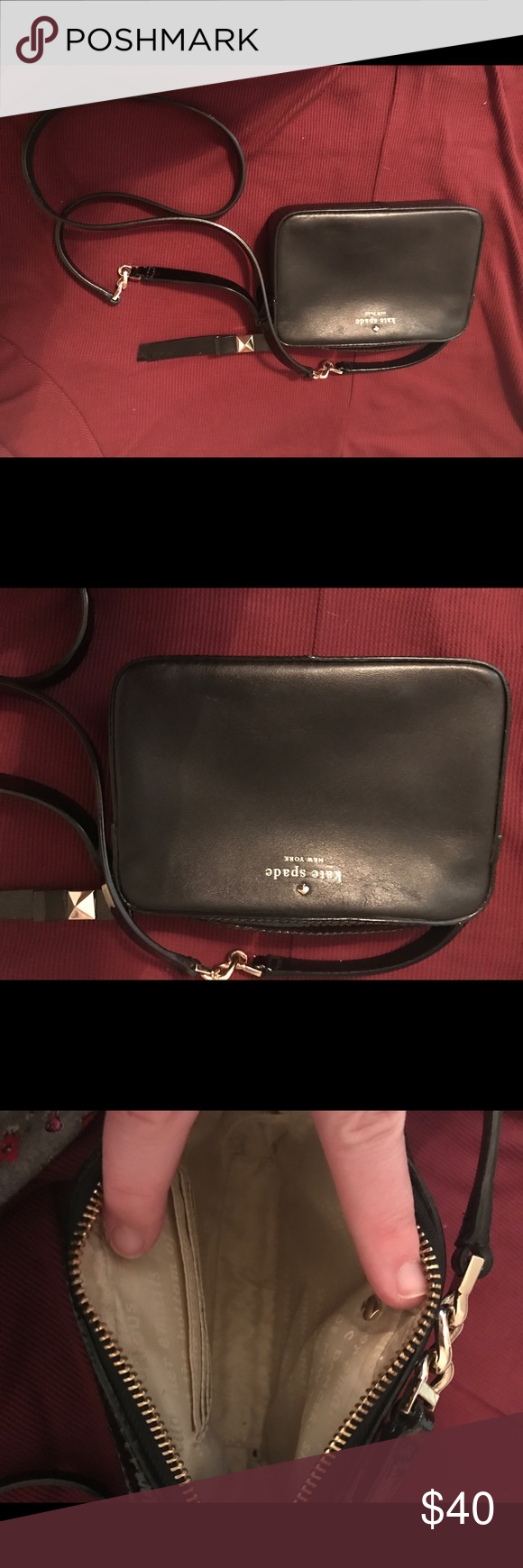 Kate Spade Small Black Crossbody Small black crossbody, really good condition. There is one scratch that I've shown. It's really not noticeable, but I wanted to make sure the pic showed it. kate spade Bags Crossbody Bags