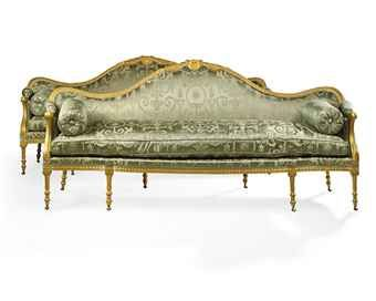 French Antique Louis Xv Style Upholstered Carved Gilt Salon Sofa