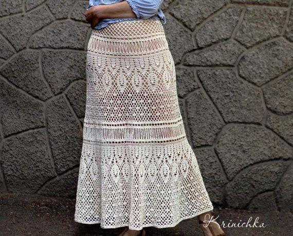 Crochet maxi skirt PATTERN for sizes S-5XL Boho crochet skirt