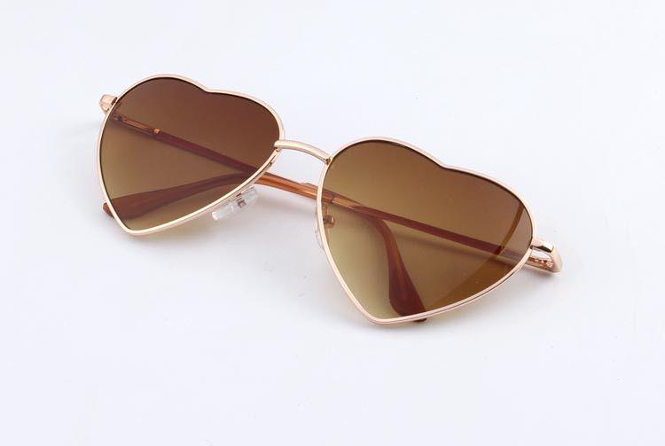 Heart Shaped Sunglasses Women Metal Reflective Lens Fashion sunglasses