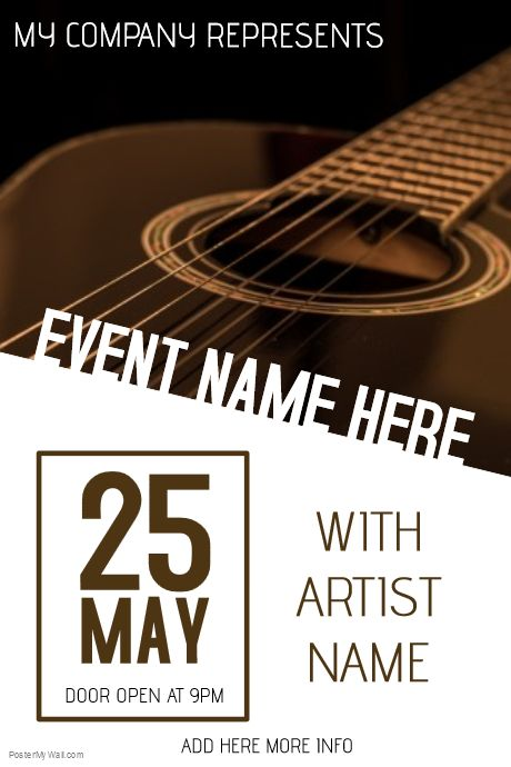 Poster Template on PosterMyWall Guitar concert poster template