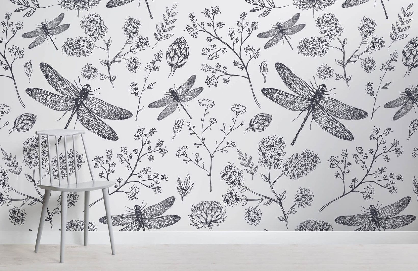 Dragonfly Wallpaper Stylish Illustration For Walls Muralswal