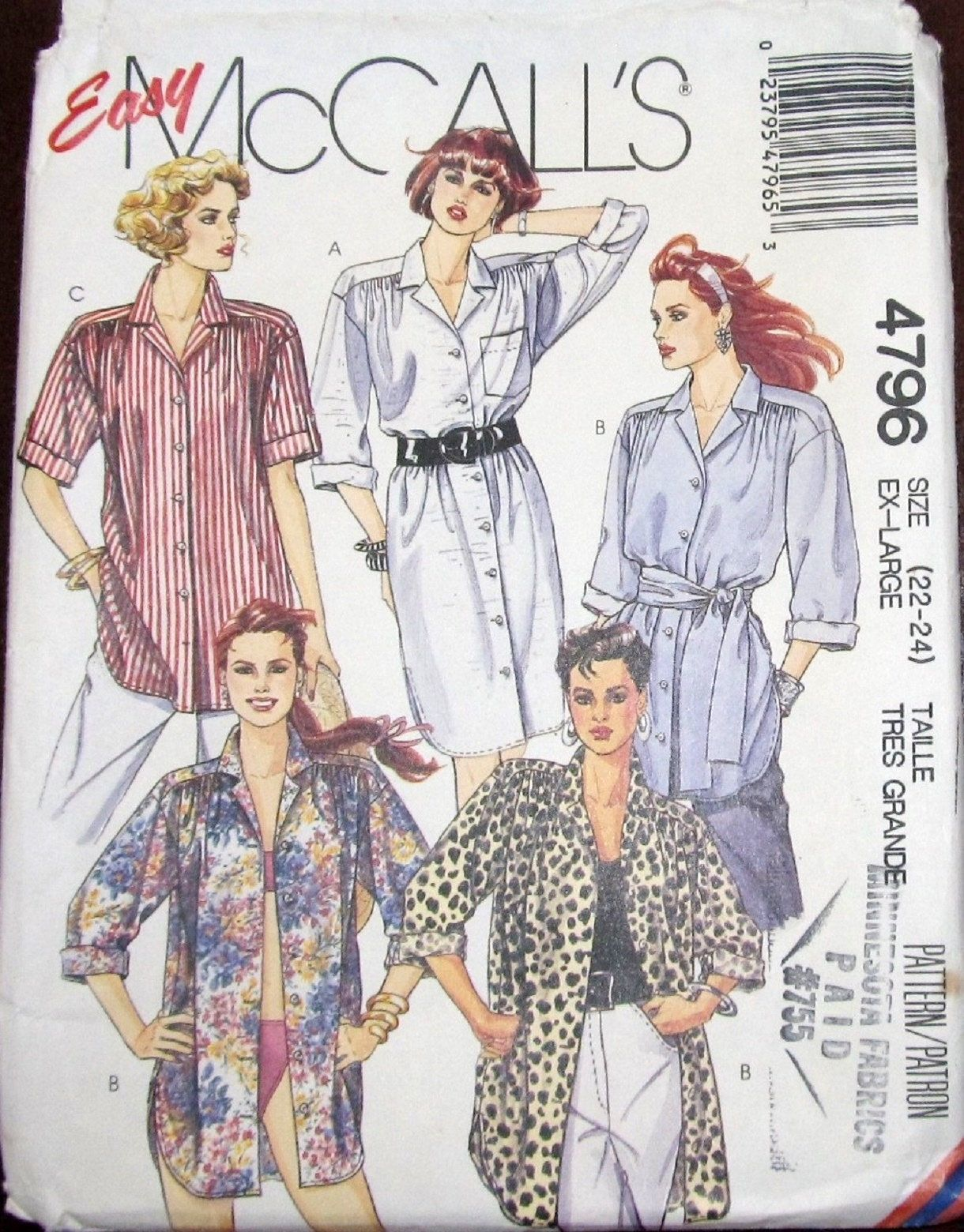 956834b910ac79 Easy Vintage Sewing Pattern McCall's 4796 Shirtdress Dress, Camp Shirt Tie  Belt Womens Misses Plus Size 22-24 Bust 44-46 Uncut Factory Folds by ...