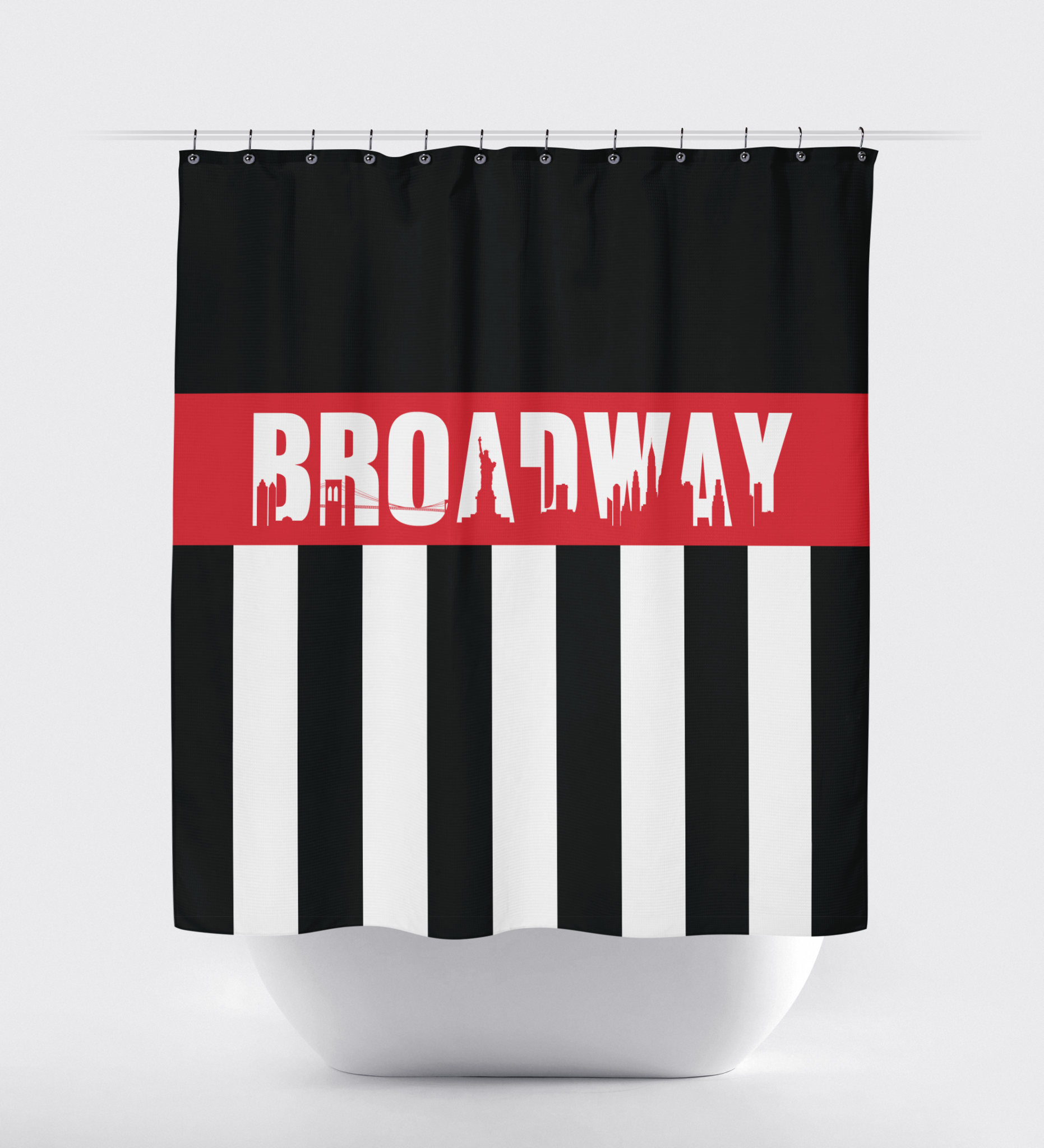 Broadway Shower Curtain With Vertical Stripes And New York City