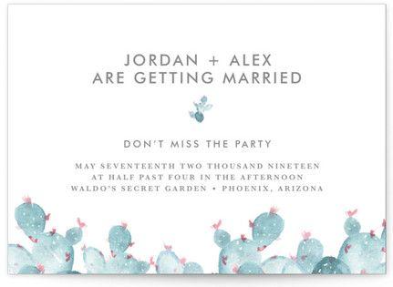 simple cactus watercolor Wedding Invitations #cactusweddinginvitations #succulentweddinginvitations #rusticweddinginspiration