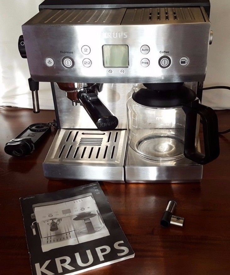 Krups Xp2280 10 Cups Coffee 1 Or 2 Cup Espresso Combo Tamp Technology Silver Krups Closet Kitchen Coffee
