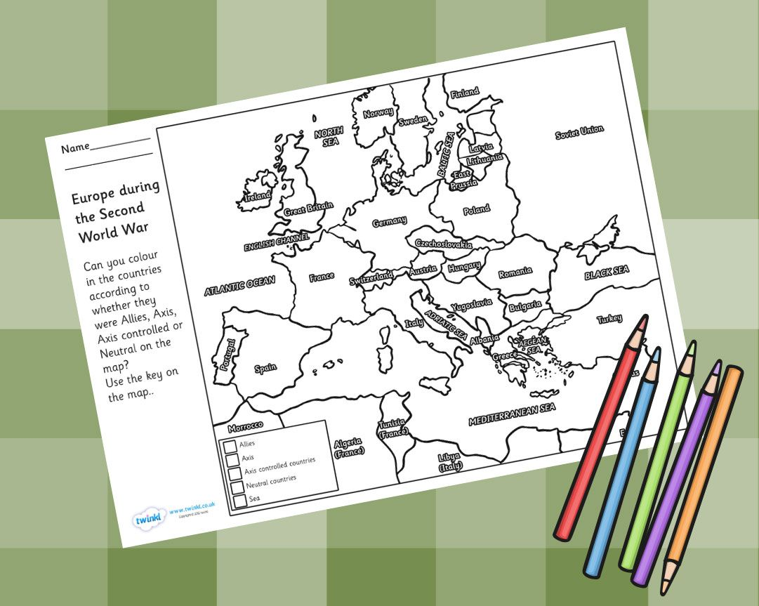 World War 2 Colouring Map