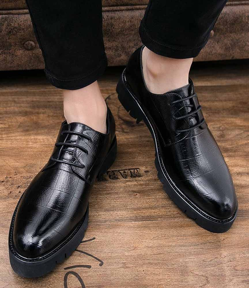 check block leather derby dress shoe