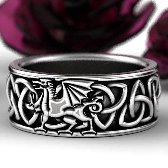 Welsh Dragon Ring Celtic Sterling Wedding Band Mens