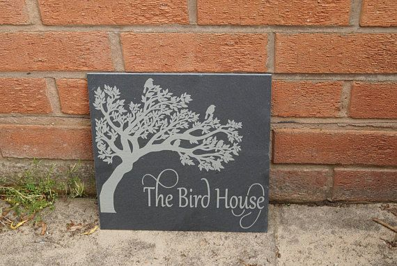 slate house sign, shed sign,bird sign, bird in tree sign