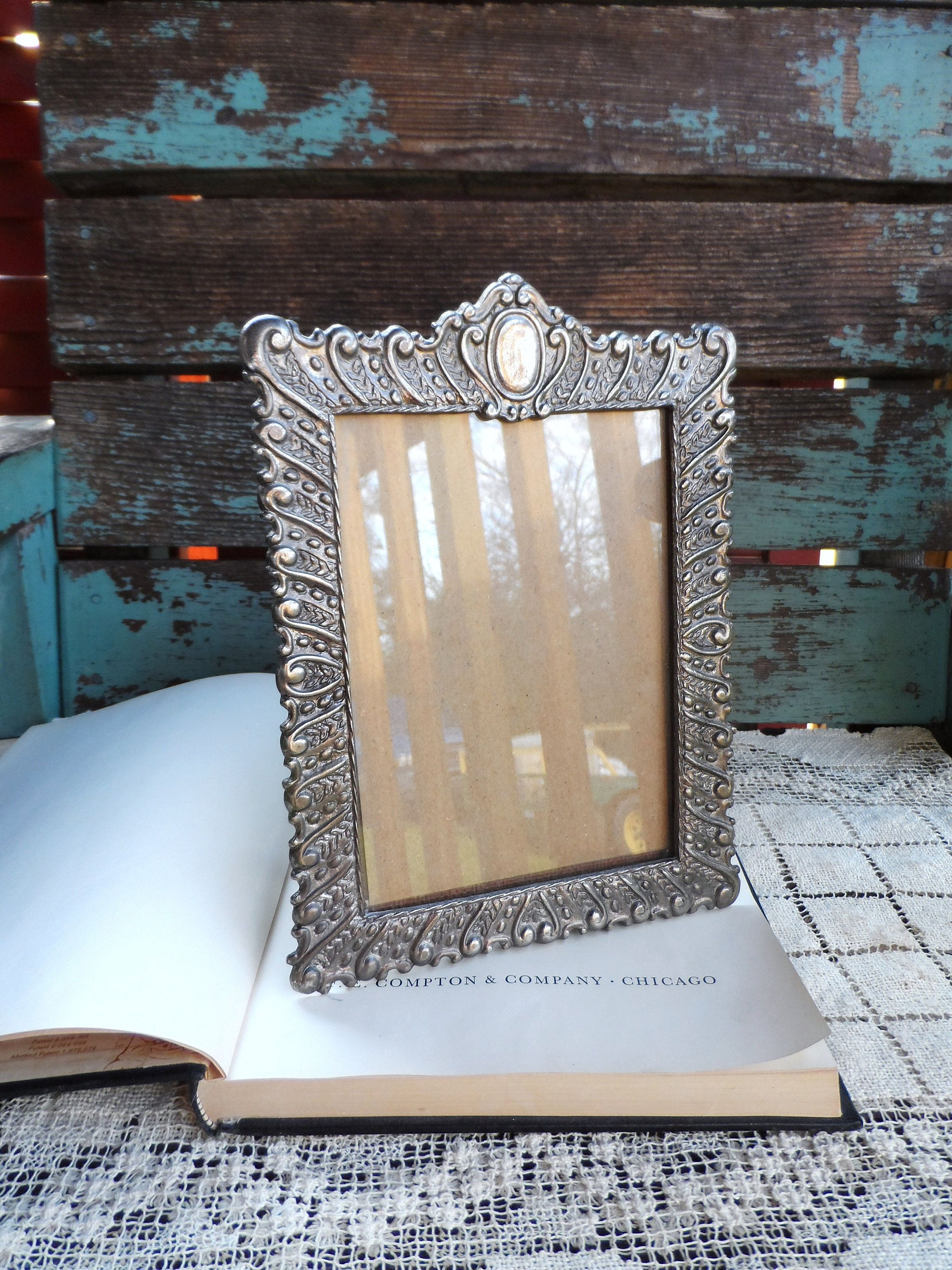 Vintage Silver Plate Picture Frame Victorian Ornate