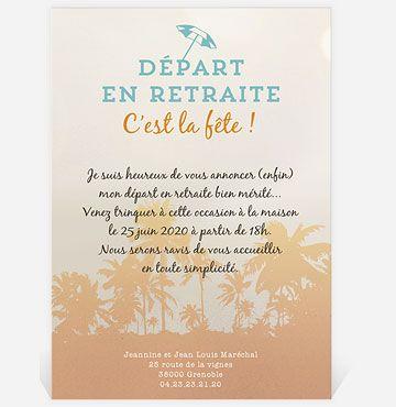 Carte Invitation Depart A La Retraite Reves De Voyage Carte