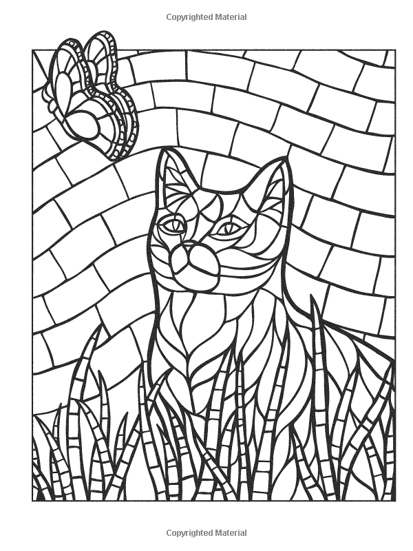 Creative Haven Animal Mosaics Jessica Mazurkiewicz Mosaic Animals Animal Coloring Pages Cat Coloring Page