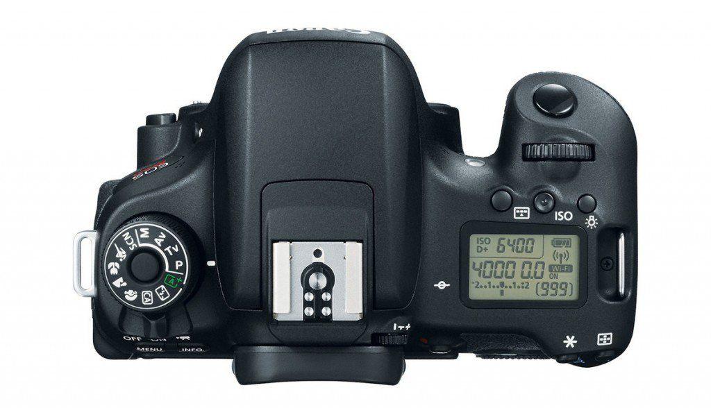 LCD superior da Canon T6s com indicação das funções operacionais