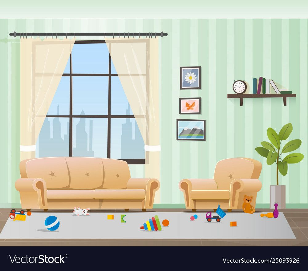 Children Scattered Toys In Messy Empty Living Room Vector Image On