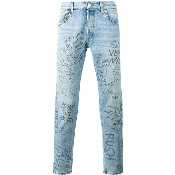 a178d973c17 Gucci Scribbled Writing Print Punk Pant ($1,120) ❤ liked on Polyvore  featuring men's fashion, men's clothing, blue and gucci mens clothing