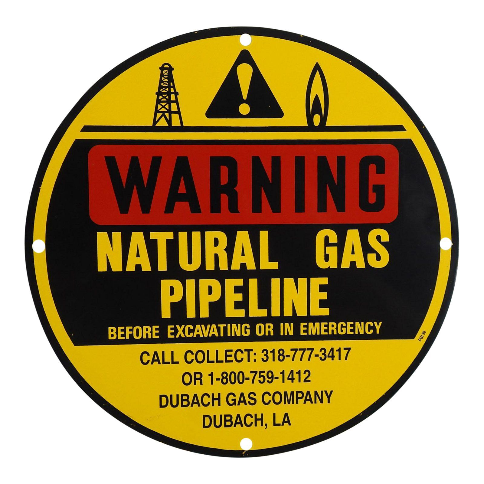 Natural Gas Pipeline Warning Sign For Sale, 26, air