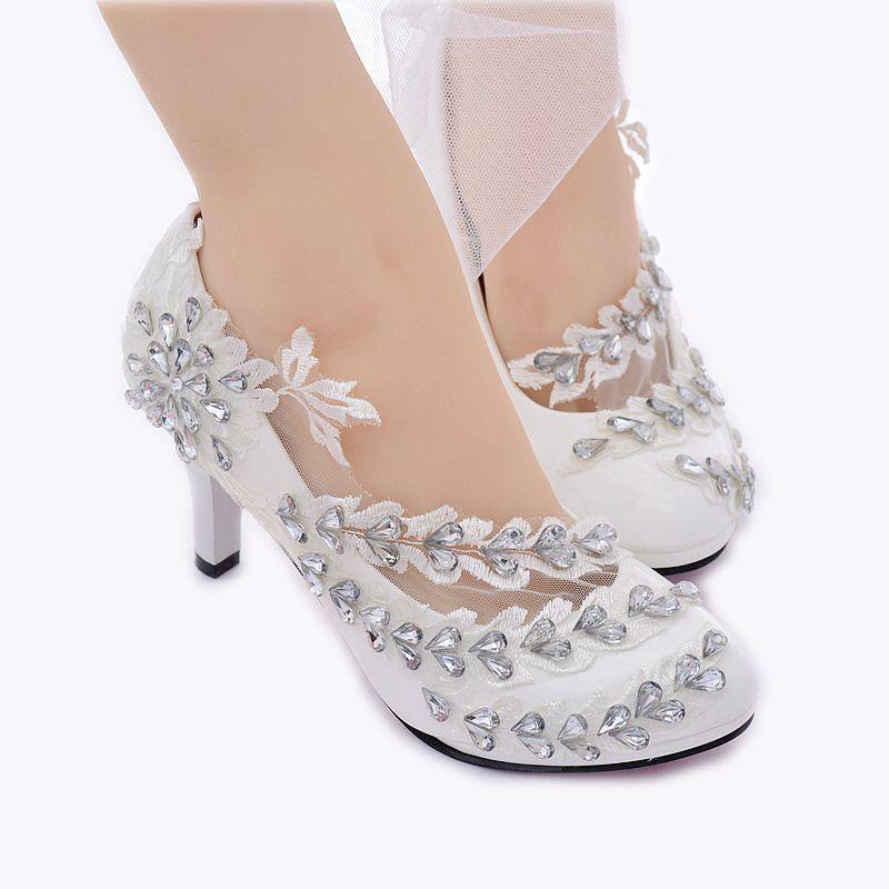 e6cec6a011 Handmade Women White Lace Floral Bridal Wedding High Heels Shoe OusL #024