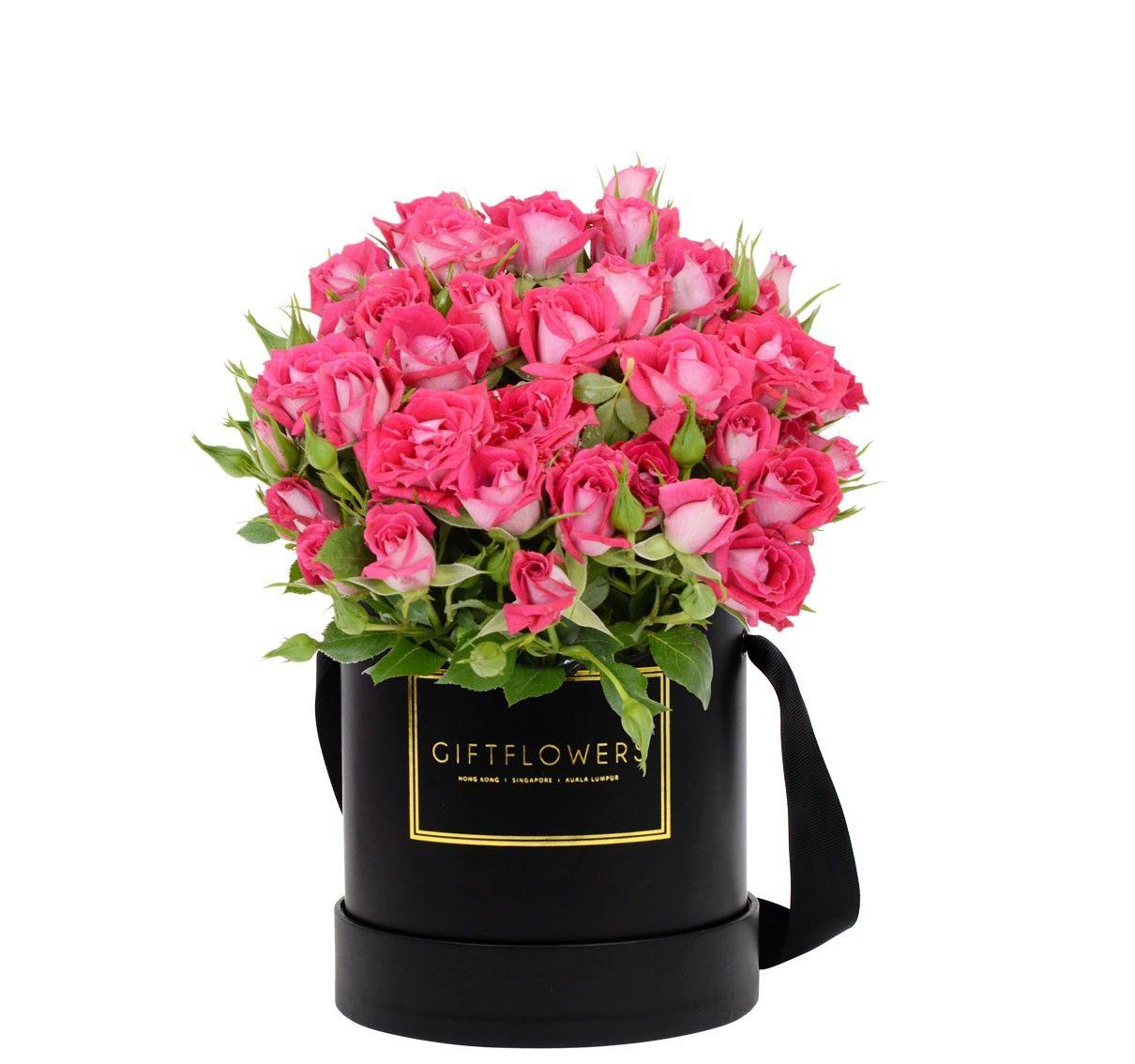 Mini Roses with Elegant Flower Box Gift Flowers SG