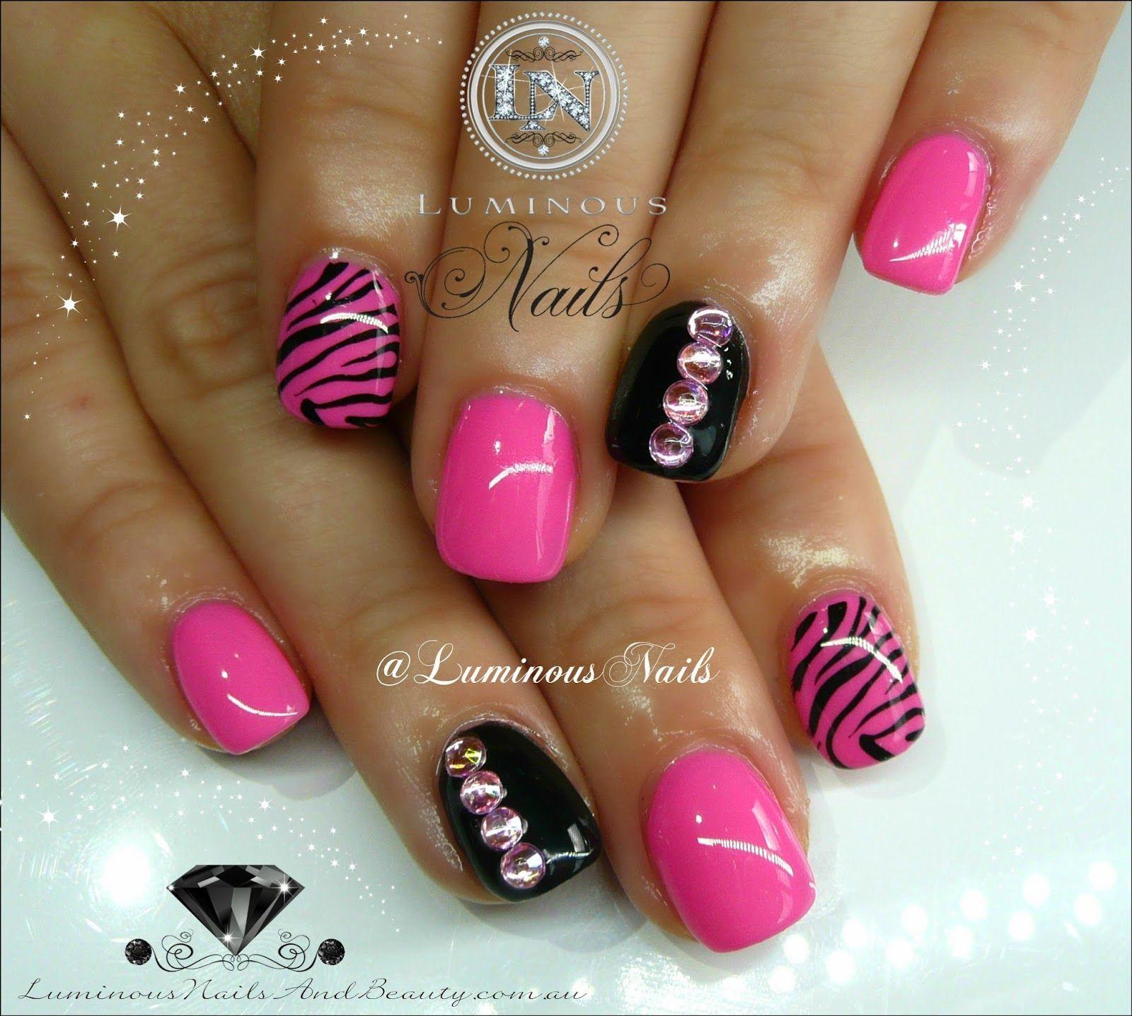 Luminous nails cute pink black nails with zebra print bling luminous nails cute pink black nails with zebra print prinsesfo Choice Image
