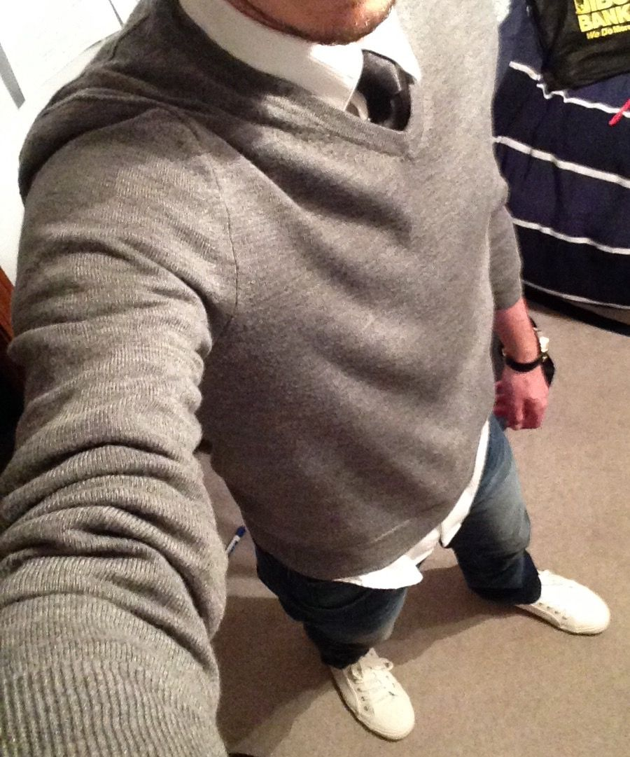Men's Casual Fashion Grey V-Neck Merino Wool Sweater White button ...