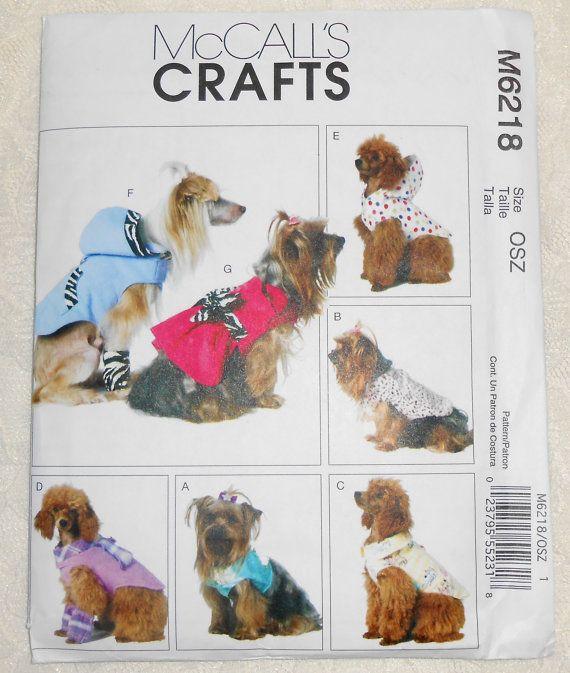 2ba794b7564 McCalls M6218 Sewing Pattern Dog Coat Raincoat Pet Clothes All Sizes ...