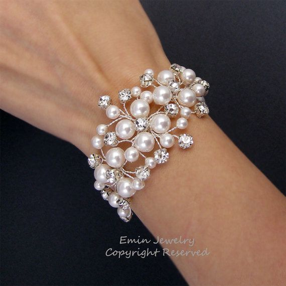 Bridal Bracelet Gold Wedding Bracelets Pearls Bracelets