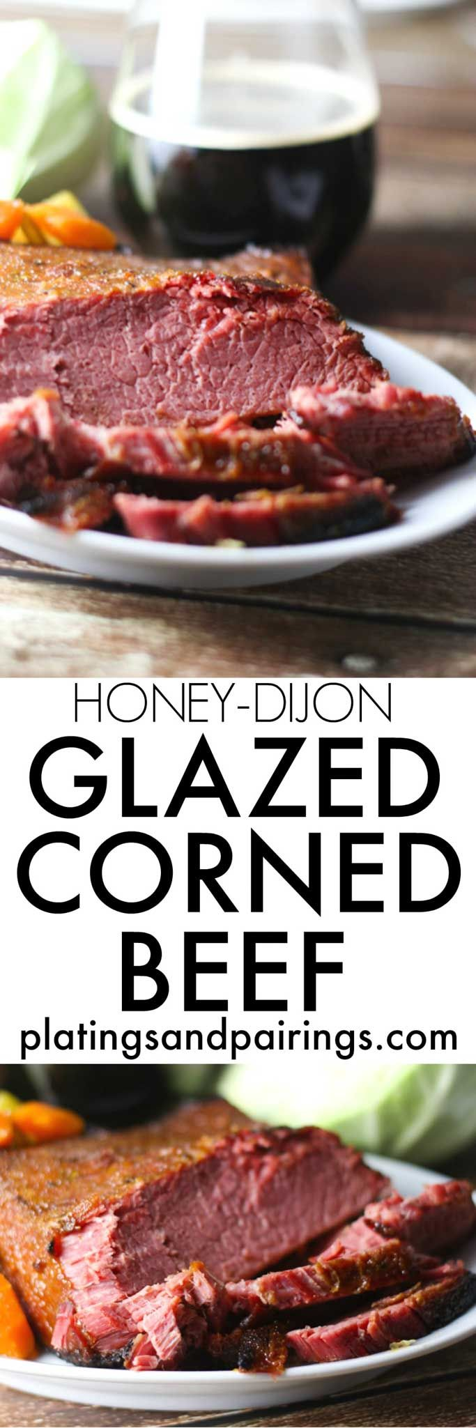 This Glazed Corned Beef & Cabbage is made in the slow cooker and finished off under the broiler with a honey-dijon glaze, giving it a nice crispy crust.