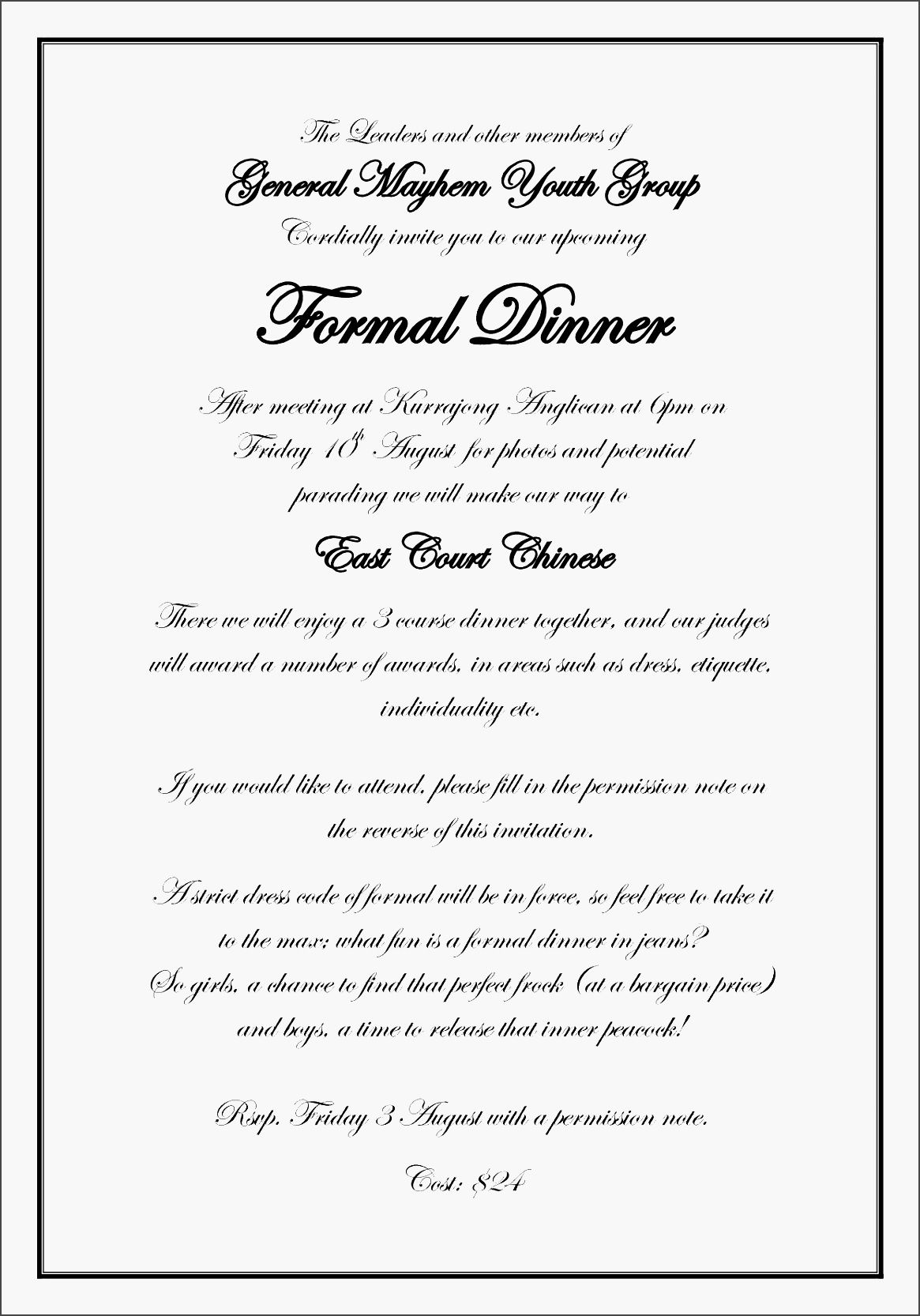 Dinner Party Invitation Letter Template