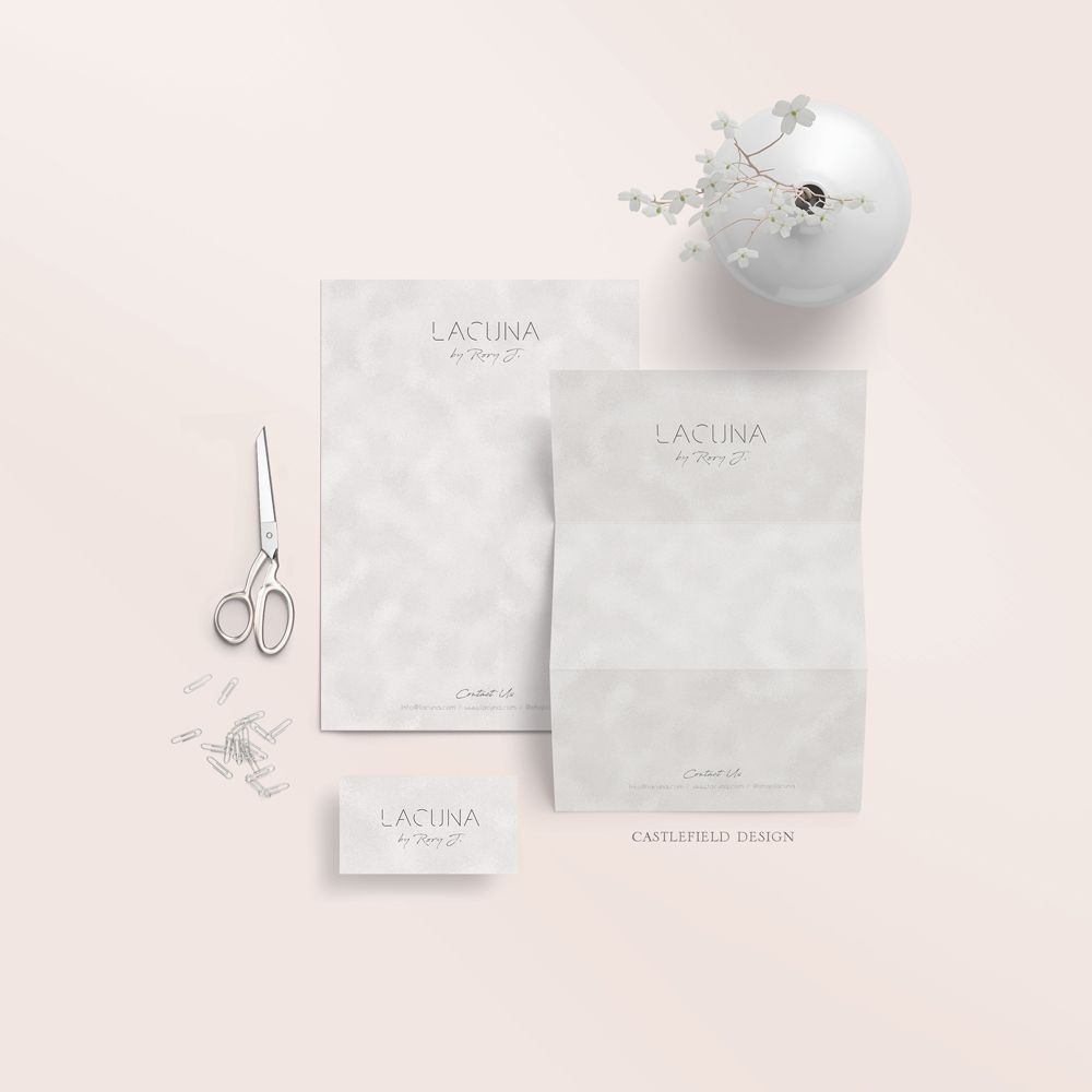 Lacuna Branding Stationery by Castlefield Design - Luxury Branding, Wedding and Event Invitations and Stationery, Packaging Design, Prints and Patterns for Products. Clean, modern letterhead and business cards. www.castlefield.co - www.instagram.com/castlefielddesign