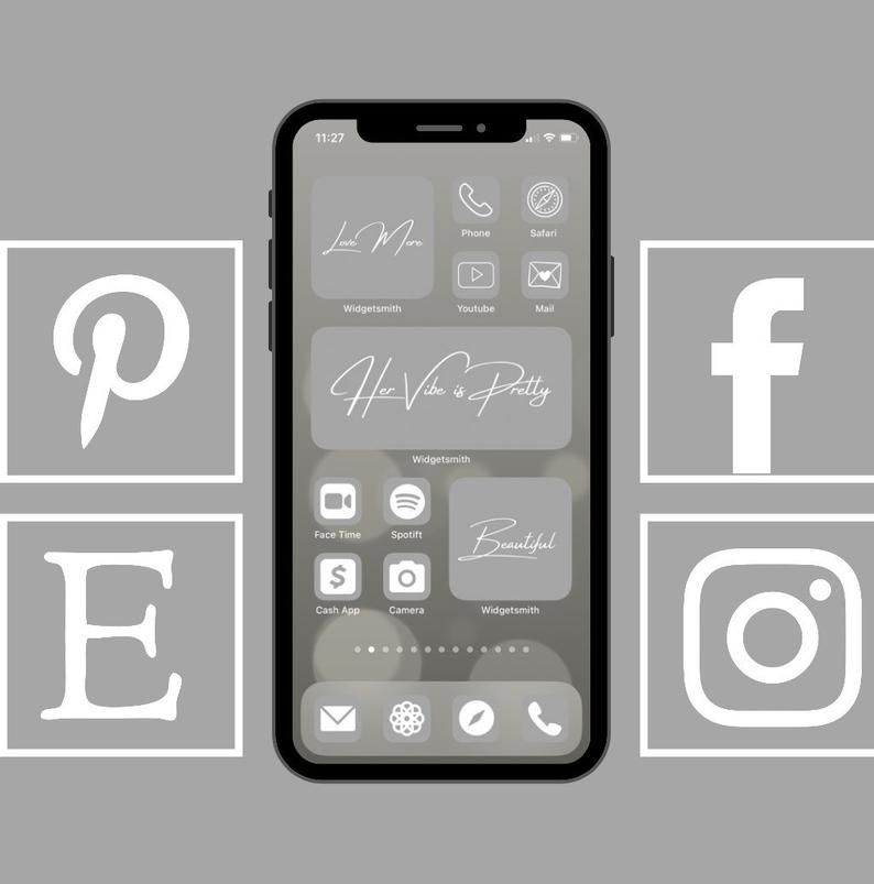 Grey Tone Neutral Aesthetic 100 App Icon Pack For Iphone Ios 14 Icons Covers Cove The Design Widget Covers Customize Home Screen App Icon Homescreen Homescreen Iphone
