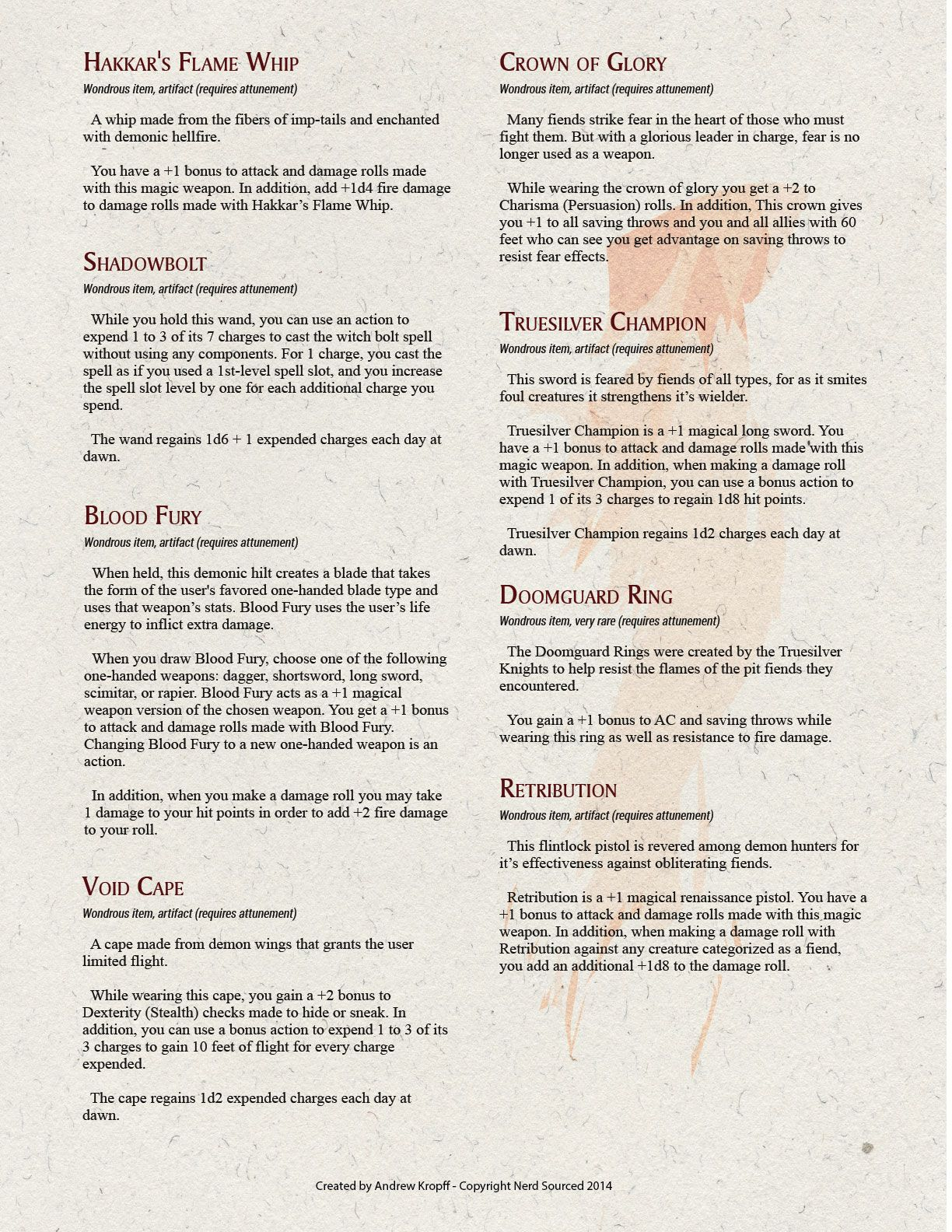 Dd 5e homebrew magic items and monster demonic