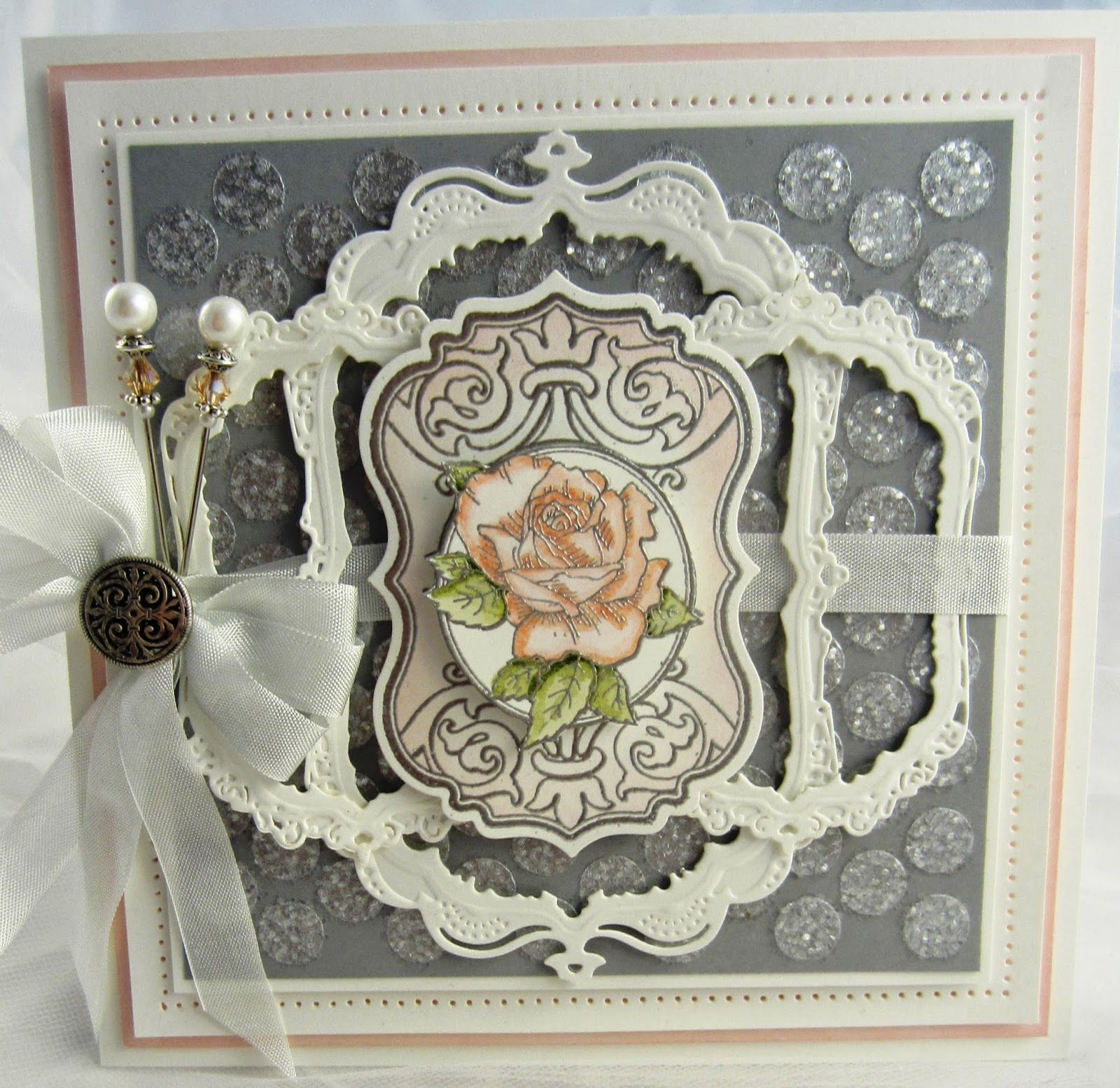 5/21/14 PartiCraft (Participate In Craft) blog artist:  Sue Wilson love the ivory-peach-grey color combination