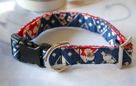 Navy Japanese Design Floral Dog Collar By Miasclosetshop Ilysm